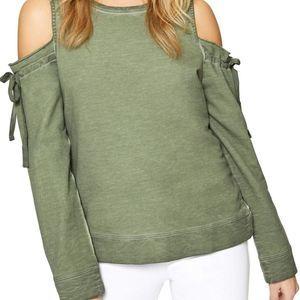 SANCTUARY Parkside Cold Shoulder Sweatshirt NWT S